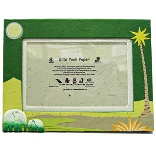 Dark Green Poo Paper Elephant Themed Photo Frame