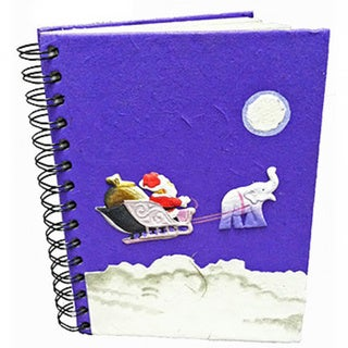Handmade Dung Paper Holiday Santa Journal