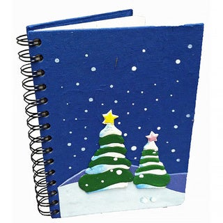 Handmade Dung Paper Holiday Trees Dark Bl Journal