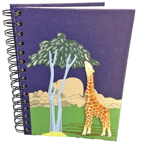 Handmade Giraffe Blue Elephant Dung Paper Journal (Sri Lanka)