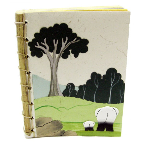 Bamboo Spined Natural White Poo Paper Book