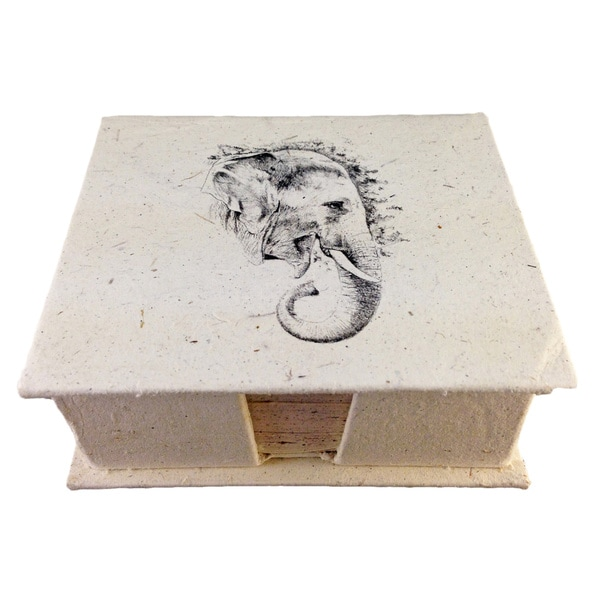 Mr. Ellie Pooh Elephant Profile Sketch Dung Paper Note Box (Sri Lanka)