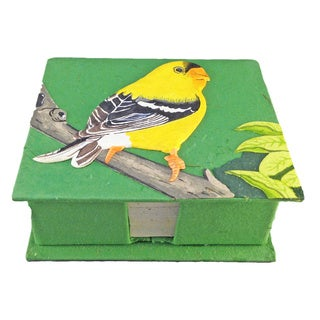 Mr. Ellie Pooh Gold Finch Dark Green Dung Paper Note Box (Sri Lanka)