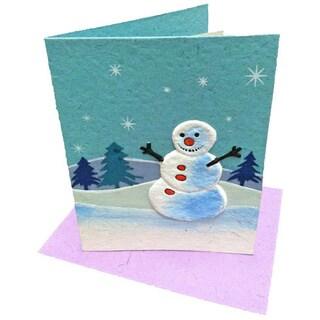 Mr. Ellie Pooh Handmade Curry the Snowman Holiday Card (Sri Lanka)