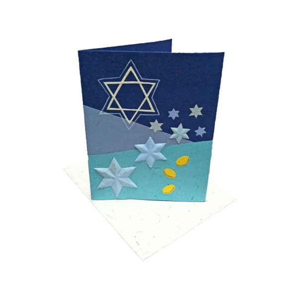 Mr. Ellie Pooh Handmade Star of David Poo Paper Holiday Card (Sri Lanka)