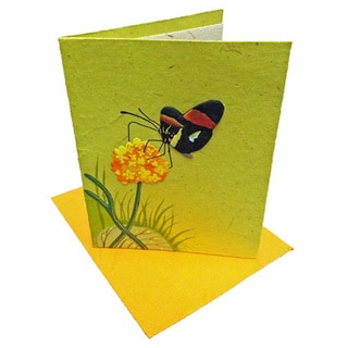 Mr. Ellie Pooh Handmade Light Green Butterfly Poo Paper Card (Sri Lanka)