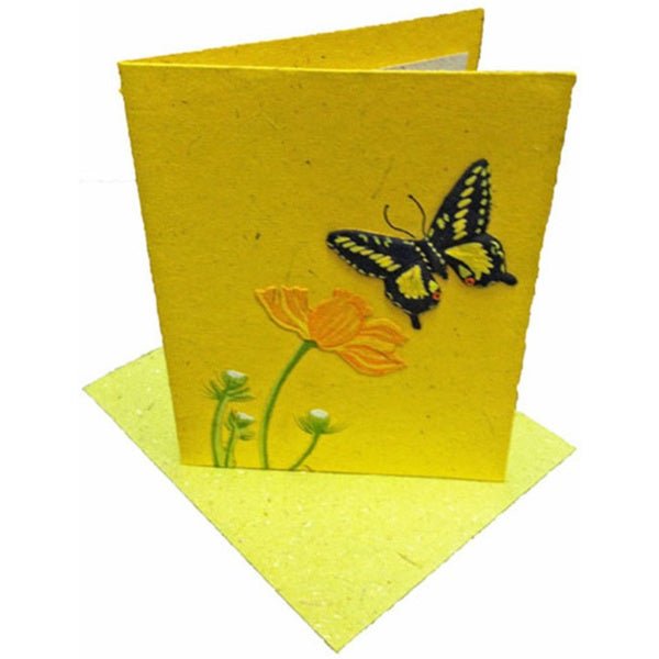 Mr. Ellie Pooh Handmade Yellow Butterly Poo Paper Card (Sri Lanka)rd