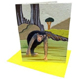 Handmade Designer Chimpanzee White Poo Paper Card
