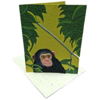 Handmade Designer Chimpanzee Light Green Card