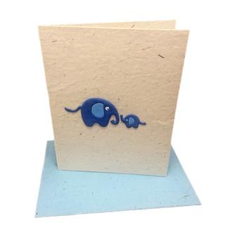 Handmade Designer Baby Blue Elephant Poo Paper Card