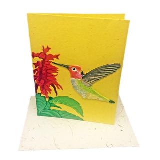 Handmade Designer Hummingbird Poo Paper Card