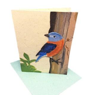 Handmade Designer Bluebird Poo Paper Card