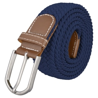 INSTEN Navy Blue Everlasting Design Leather Golf Wide Elastic Stretch Belt