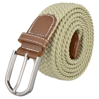 INSTEN Beige Everlasting Design Leather Golf Wide Elastic Stretch Belt