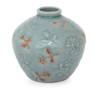 Handcrafted Celadon Ceramic Autumn in My Heart Vase (Thailand)