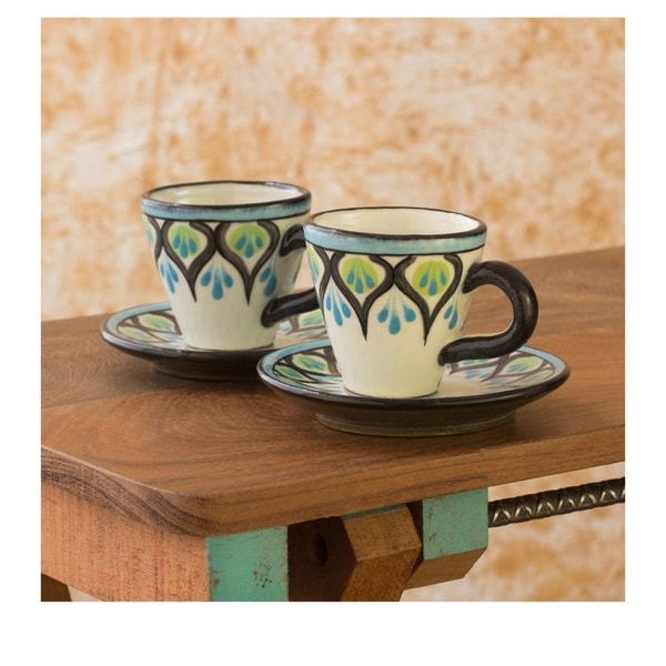 Set of 2 Ceramic Owl Espresso Cups and Saucers (Guatemala) 14439021