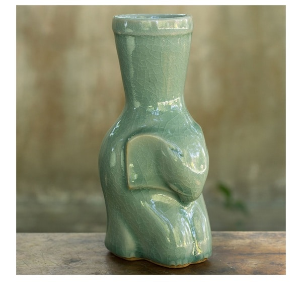 Handcrafted Celadon Ceramic Sleepy Blue Elephant Vase (Thailand)