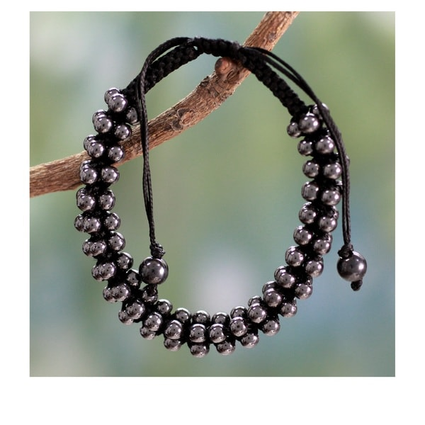 Handcrafted Hematite Tranquil Night Shamballa Bracelet (India)
