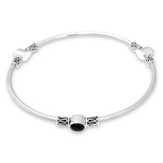 Sterling Silver 'Harmony Of Three' Onyx Bracelet (Indonesia)