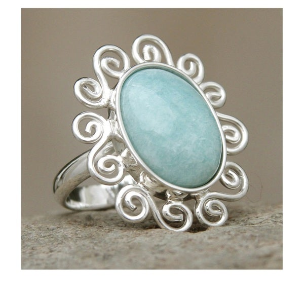 Sterling Silver 'Ocean Bloom' Amazonite Cocktail Ring (Peru)