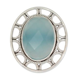 Sterling Silver 'Mumbai Sky' Chalcedony Cocktail Ring (India)