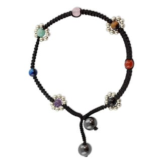 Sterling Silver 'Chakra Peace Spirit' Gemstone Anklet (India)
