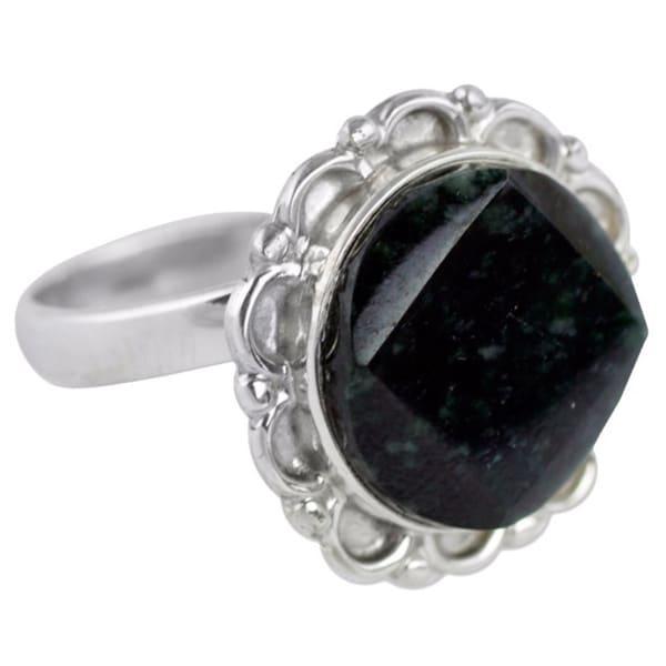 Handmade Sterling Silver 'Dark Forest Moon' Jade Ring (Guatemala) 14439133