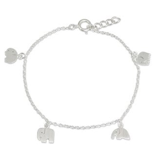 Handcrafted Sterling Silver 'Elephant Gang' Charm Bracelet (Thailand)