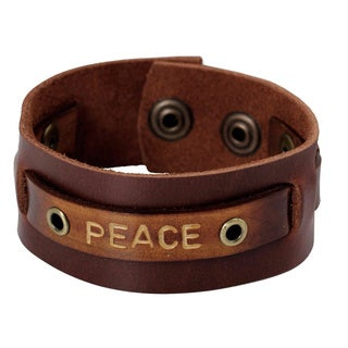 Handcrafted Men's Leather 'Peace' Bracelet (Thailand)