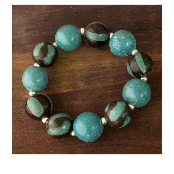 Handcrafted Ceramic 'Azacualpa Turquoise' Stretch Bracelet (Honduras)