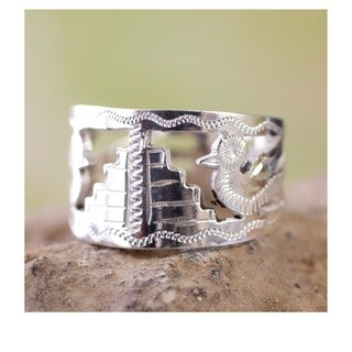 Handcrafted Sterling Silver 'Quetzales Of Tikal' Band Ring (Guatemala)