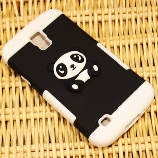 INSTEN Panda Bear Dual Layer Hybrid PC Silicone Phone Case Cover For Samsung Galaxy S4 Active GT-I9295