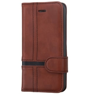 INSTEN Brown Leather Wallet Folio Book-Style Flip Phone Case Cover With Stand For Apple iPhone 5/ 5S