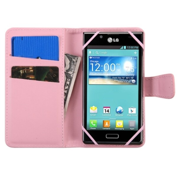 INSTEN Universal Leather Wallet Phone Case Cover With Magnetic Flip For Alcatel Samsung ZTE Nokia Motorola LG HTC Kyocera