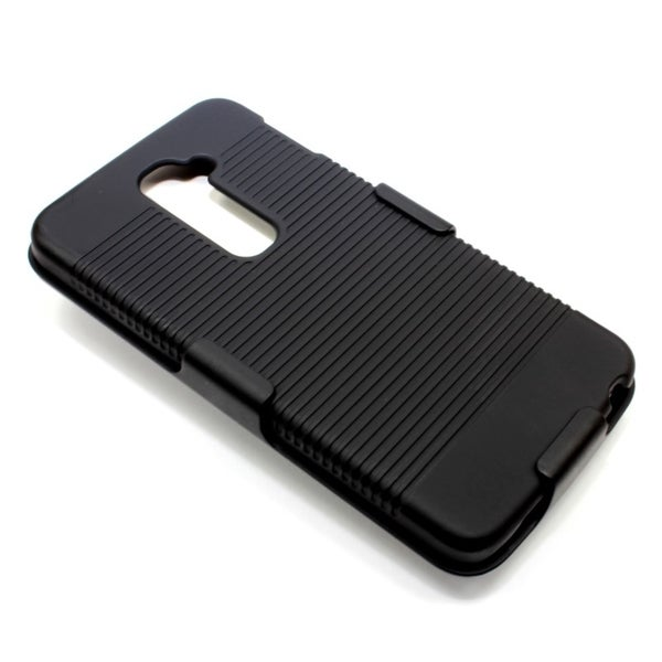 INSTEN Black Rubberized Hard Snap-on Phone Case Cover With Holster For LG G2 D800 AT&T/ G2 D801 T-Mobile/ G2 LS980 Sprint