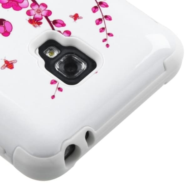 INSTEN Pink/ White Tuff Dual Layer Hybrid Spring Flowers PC Silicone Phone Case Cover For LG Optimus F6