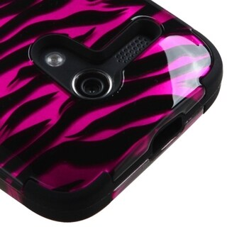 INSTEN Hot Pink/ Black Tuff Dual Layer Hybrid Zebra PC Silicone Phone Case Cover For Motorola Moto G