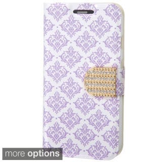 INSTEN Pattern Leather Wallet Folio Book-Style Flip Stand Phone Case Cover With Diamond For Motorola Moto G