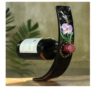 Lacquered Wood Wine Bottle Holder 'Vanda Orchid' (Thailand)