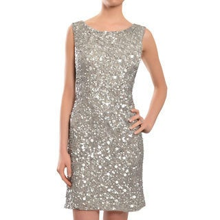 Aidan Mattox Exquisite Silver Grey Sequins Sleeveless Fitted Evening Party Dress