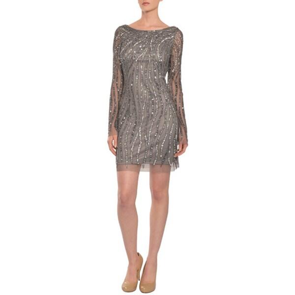 Aidan Mattox Women's Striking Silver Sequins Long Sleeve Cocktail Evening Dress