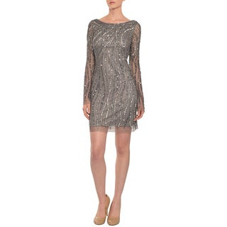 Aidan Mattox Women's Striking Silver Sequins Long Sleeve Cocktail Evening Dress