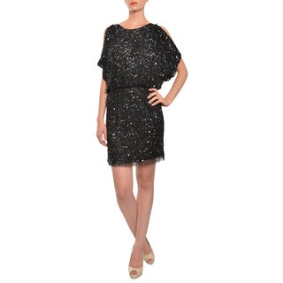 Aidan Mattox Women's Black Fully Beaded Sequin Cold Shoulder Sparkling Cocktail Party Dress