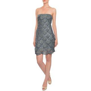 Basix Women's Black Label Sparkling Gunmetal Sequins Beaded Rhinestone Evening Dress