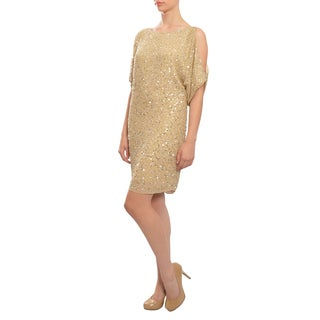 Aidan Mattox Women's Divine Fully Beaded Gold Silk Shift Cocktail Evening Dress