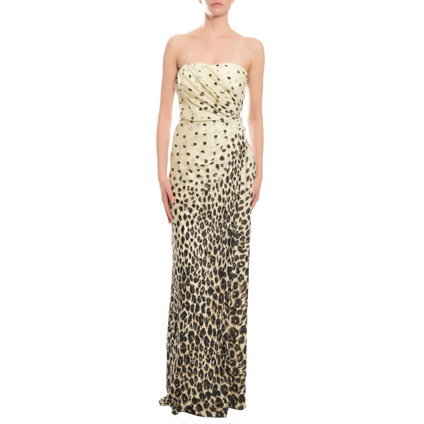 Emanuel Ungaro Women's Sultry Leopard Print Silk Chiffon Strapless Evening Gown Dress
