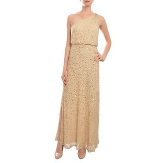 Aidan Mattox Women's Gold Sequin Encrusted One-shoulder Gown