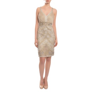 Sue Wong Women's Taupe Beaded V-neck Cross Strap Back Cocktail Evening Dress