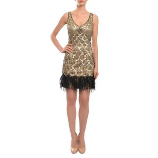 Sue Wong Women's A Modern Revival Gold Beaded Feather Party Cocktail Evening Dress