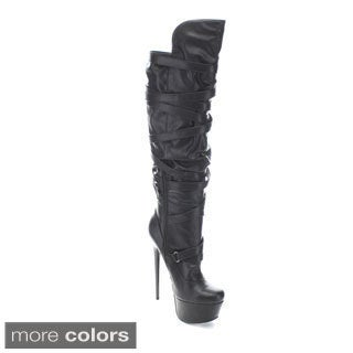 Fahrenheit Women's 'Vicky-18' Stiletto Platform Knee-high Boots